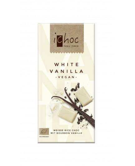 Czekolada iCHOC biała nugatowa z orzechami laskowymi (na napoju ryżowym) BIO 80g - VIVANI